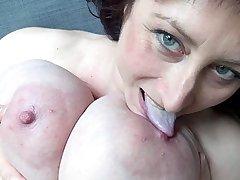 Euro MILF with macromastia hang breasts