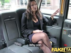 Fake Taxi hot busty babe gets massive cum shot desist her tits
