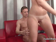 Amateur french blonde deep anal fucked DP and cum covered