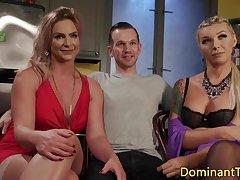 Transgender babes analfuck and cocksuck trio