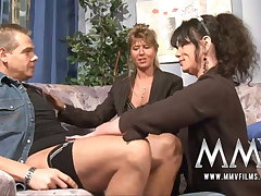 MMV Films Mature teacher having fun with a team of two