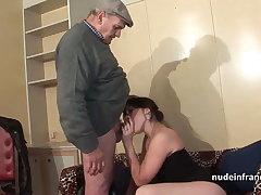 Amateur rain brunette hard DP in foursome with Papy Voyeur