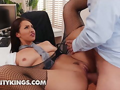 Goddess Bella Rolland Rides Their way Colleague's Hard Dick