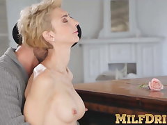 Mature blonde young gentleman Natalie Anna sucks dick and fucked hard