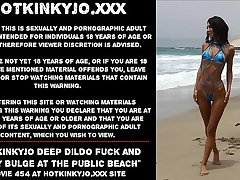 Hotkinkyjo unfathomable cavity dildo fuck and belly bulge at the public beach