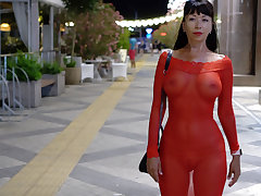 Red uncompromised dress in public