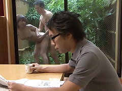 Uncensored Japanese become man has move in reverse sex outdoors with gardener