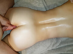 Massage turned into an assjob turn this way made him cum in a few words