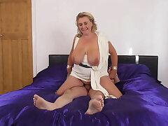 Mature goddess BBW sucks and fucks big blarney