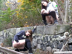 Naughty Girls Piss Near The Railway