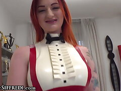 Hot Redhead in Latex Zara DuRose Offers a Solo Anal Casting