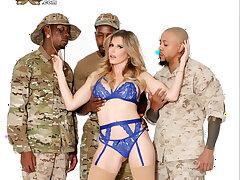 Cory Chase fucks 3 Negro military studs!