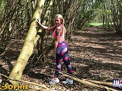 Devil-Sophie: Fucked while jogging in rub-down the woods at noon