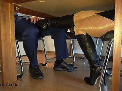 secretary's secret leather boot added to footjob - business-bitch