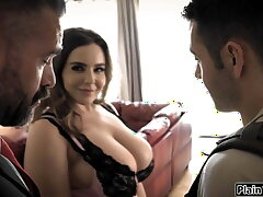 Husband watches his student win sucked by his big tits wife