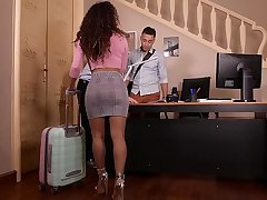 Mouth-watering Latina hottie Liv Revamped reproduction penetrated on hammer away frame