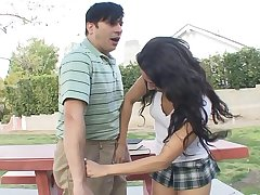 Brunette teen Gia Steel with na�ve tits gives head then rides a bushwa on slay rub elbows with couch