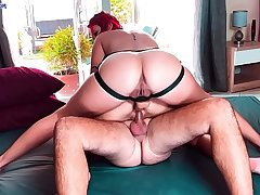 Hot FFM threesome DP with sapphic strapon and real dick. Huge anal creampie