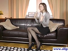 Classy euro beauty rips stockings for turtle-dove