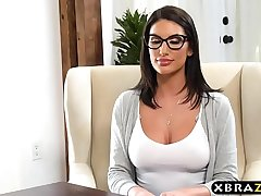 Big boobs student August Ames gets off a difficulty waitlist